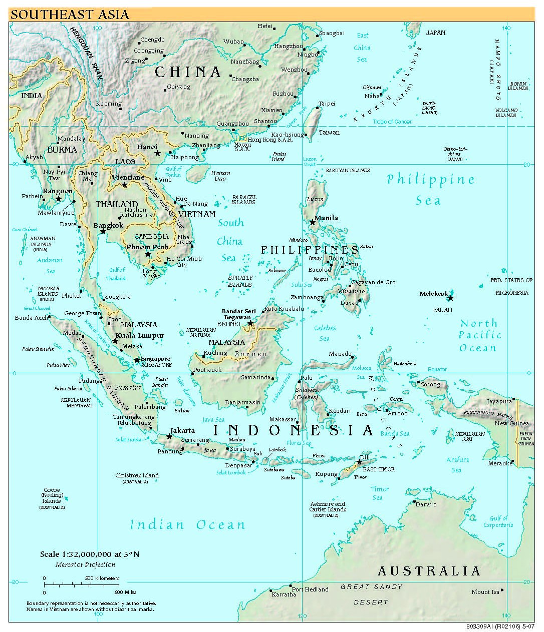 Satellite Views And Political Maps Of South East Asia